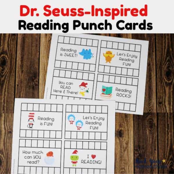 2 pages of Dr. Seuss-Inspired reading punch cards for a fun way to track reading progress