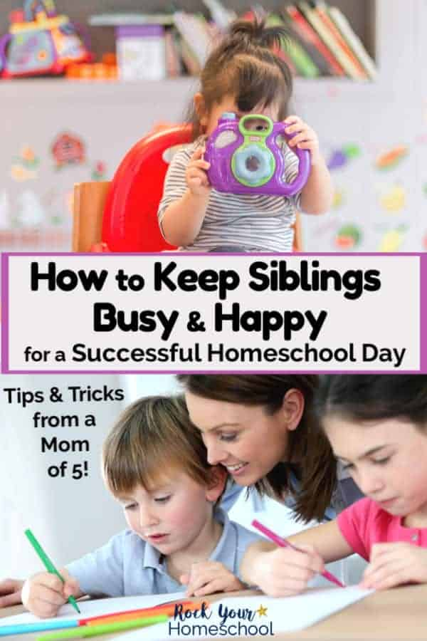 Young girl holds purple plastic toy camera in front of her face while sitting in a red chair with toys in background and smiling mom helping her kids with homeschool work for amazing ways to keep siblings busy & happy so you can enjoy your homeschool day