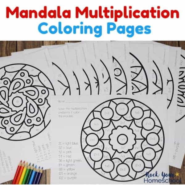 Mandala Multiplication Coloring Pages are wonderful activities to help your kids practice & memorize these math facts.