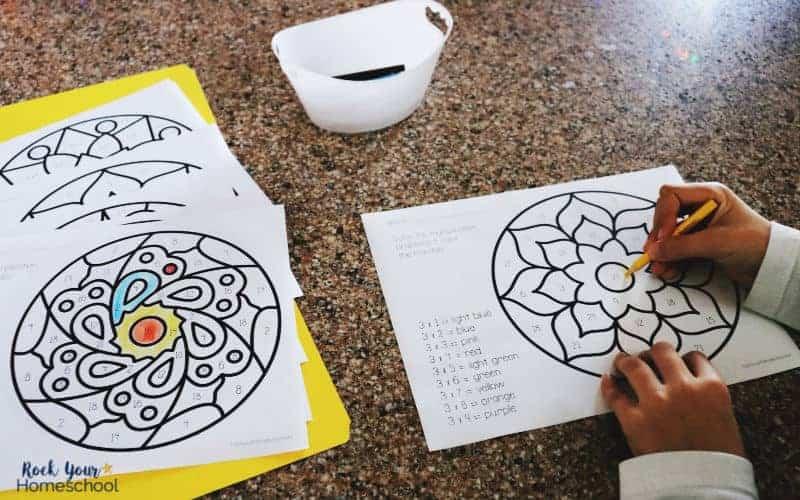 Multiplication coloring pages make math + art fun.