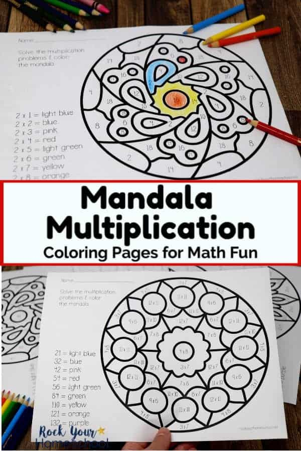 Mandala multiplication coloring page with rainbow of color pencils on wood background and woman holding mandala multiplication coloring page with other printable math activities in background