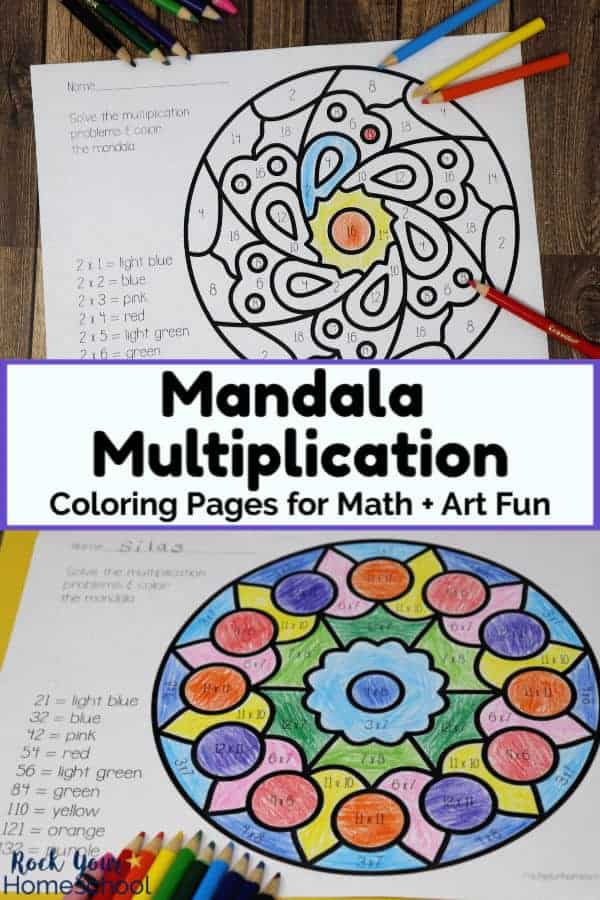 printable mandala multiplication coloring page with color pencils on wood background and colorful mandala multiplication printable page with rainbow of color pencils on yellow paper & wood background