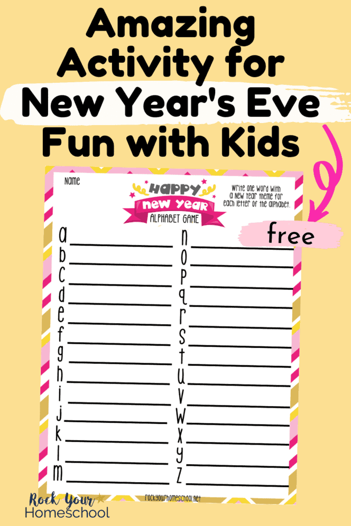 New Year's Eve Alphabet Game to feature the amazing fun you'll have with your kids, family, & friends with this cool challenge