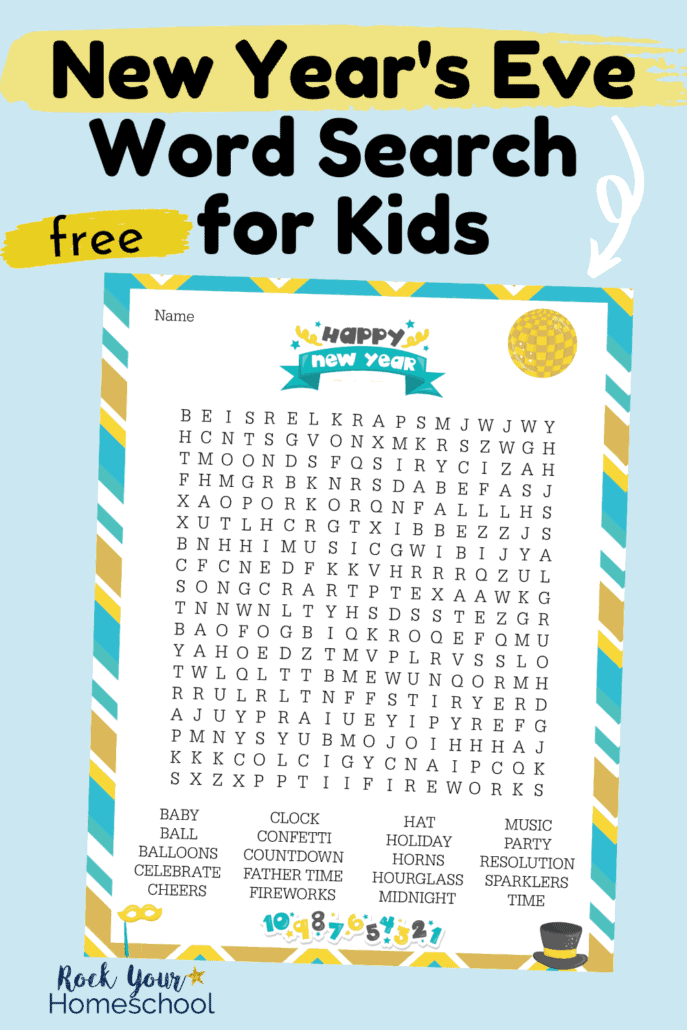 New Year's Eve Word Search for an amazing activity for a fun celebration with kids