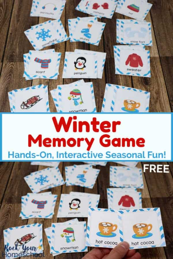 Winter Memory Game for kids cards on wood background and woman holding cookies & cocoa Winter Memory Game cards with other cards in background