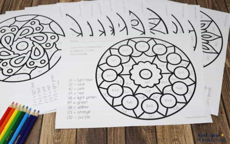 These printable multiplication coloring pages featuring mandalas are fantastic ways to make math + art fun.