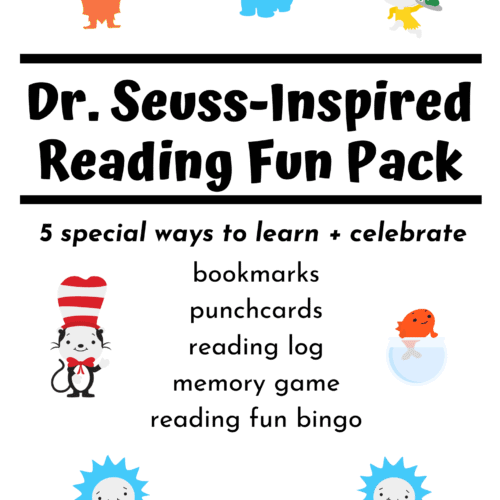 Dr. Seuss-Inspired Reading Fun Pack with the Lorax, Horton, Sam-I-Am, The Cat in the Hat, Fish, Thing 1 and Thing 2 to feature the variety of reading fun resources you'll find in this set with bookmarks, punchcards, bingo, memory game, and reading log