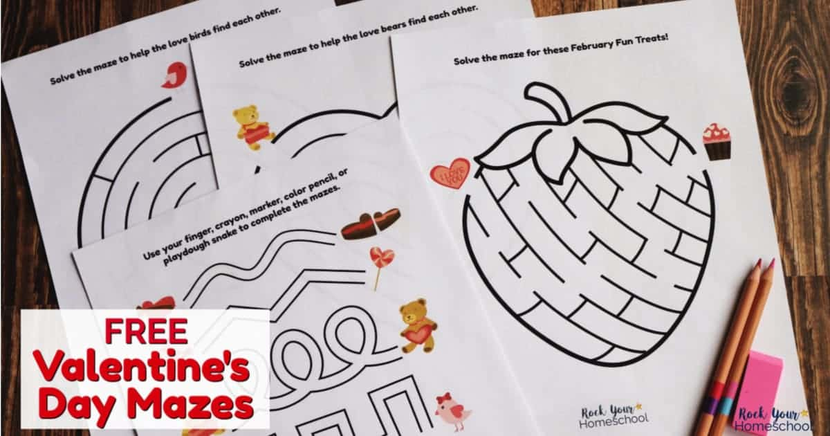 Your kids will love these free Valentine's Day mazes.