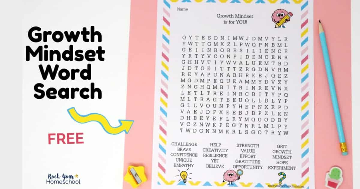 Use this free Growth Mindset Word Search activity with your kids for amazing learning fun that helps them thrive.