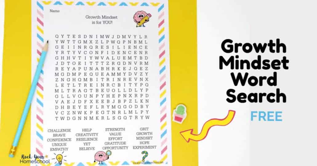 Your kids will love this free printable growth mindset word search activity.