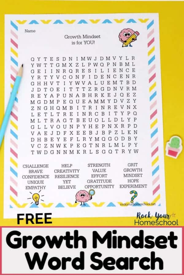 Free Growth Mindset Word Search printable page with light blue pencil & cactus mini-eraser on yellow paper to feature how this activity is an amazing way to reinforce growth mindset concepts with kids.