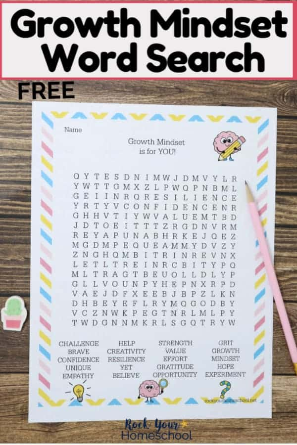 Free Growth Mindset Word Search with light pink pencil & cactus mini-eraser on wood background to feature how this free printable activity can help kids practice & learning these important skills