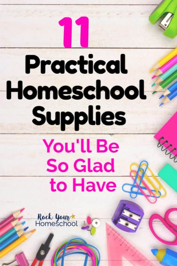 Variety of colorful homeschool supplies including green stapler, color pencils, bright notebooks, colorful paperclips, purple pencil sharpener & rainbow of rubberbands on white wood background to feature practical homeschool supplies for help homeschoolers thrive