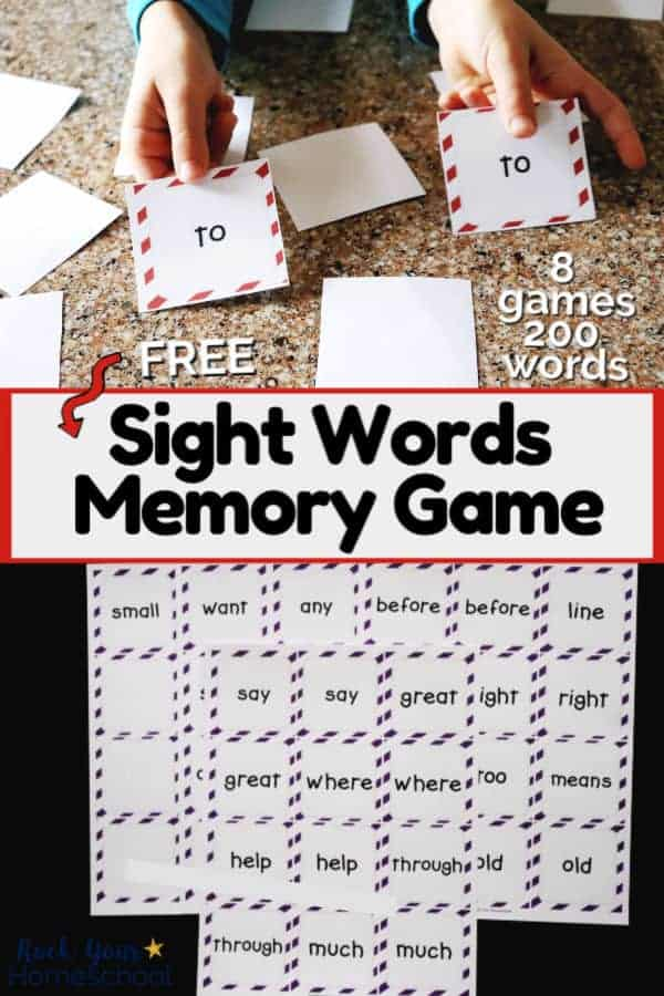 Boy holding matching pair of sight words memory game cards & group of sight words memory game cards to feature how these free printable games can boost reading fun for kids