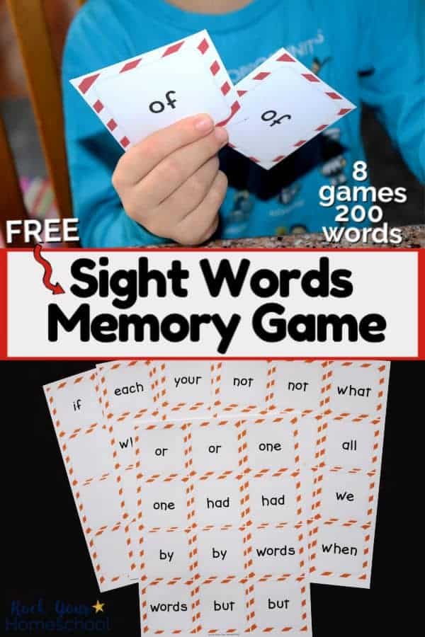 Boy holding matching pair of sight words memory game cards & group of sight words memory games cards on dark wood to show how you can extend the learning fun for learning how to read
