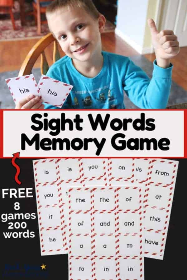 Boy smiling & giving a thumbs up as he holds a matching pair of sight words and group of sight words memory game cards on dark wood to feature learning fun with this sight words memory game