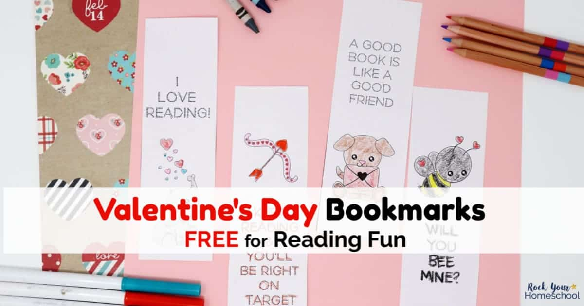 Get this free set of Valentine's Day Bookmarks for Reading Fun. Great for your class, party, & friends!