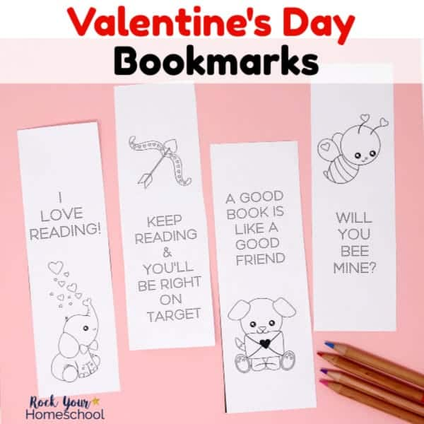 Your kids will love these free Valentine's Day coloring bookmarks for reading fun.