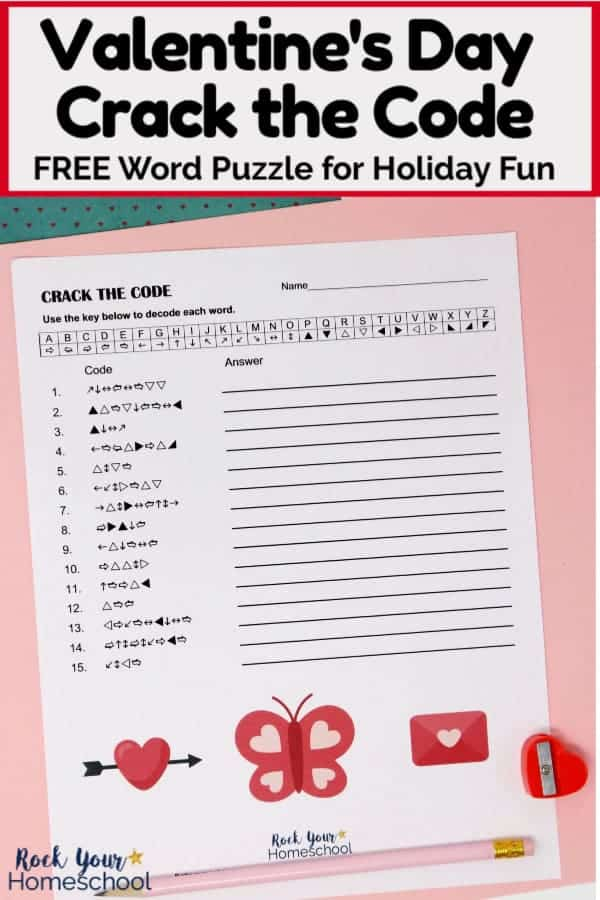 Fun & Free Valentine's Day Crack the Code Activity