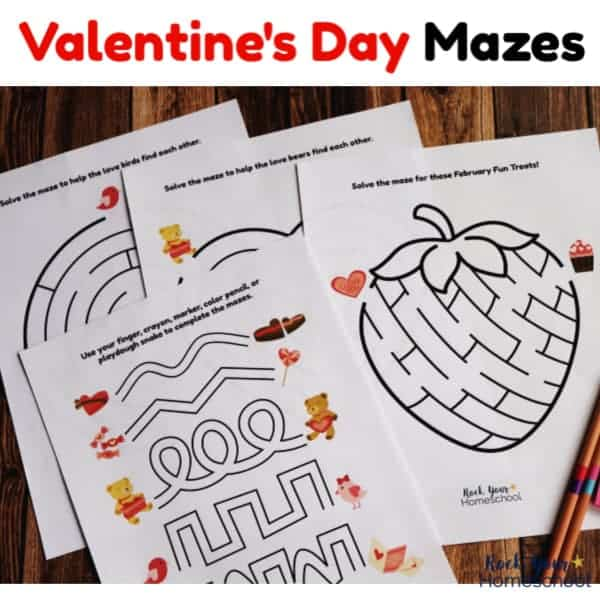 Get 4 FREE Valentine's Day Mazes for fun holiday activities for kids.