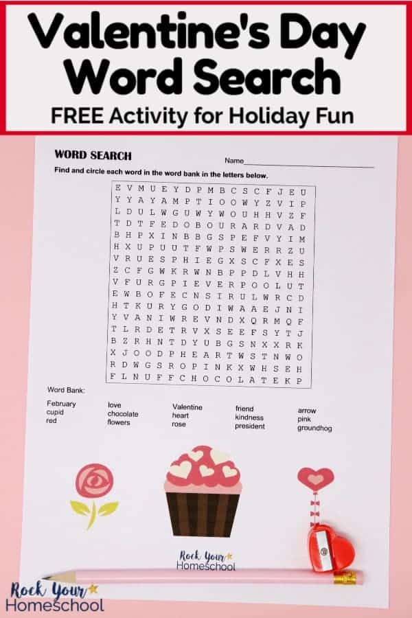Free Valentine's Day Word Search with pink pencil & red heart-shaped pencil sharpener on pink paper to feature the easy holiday fun with this printable activity