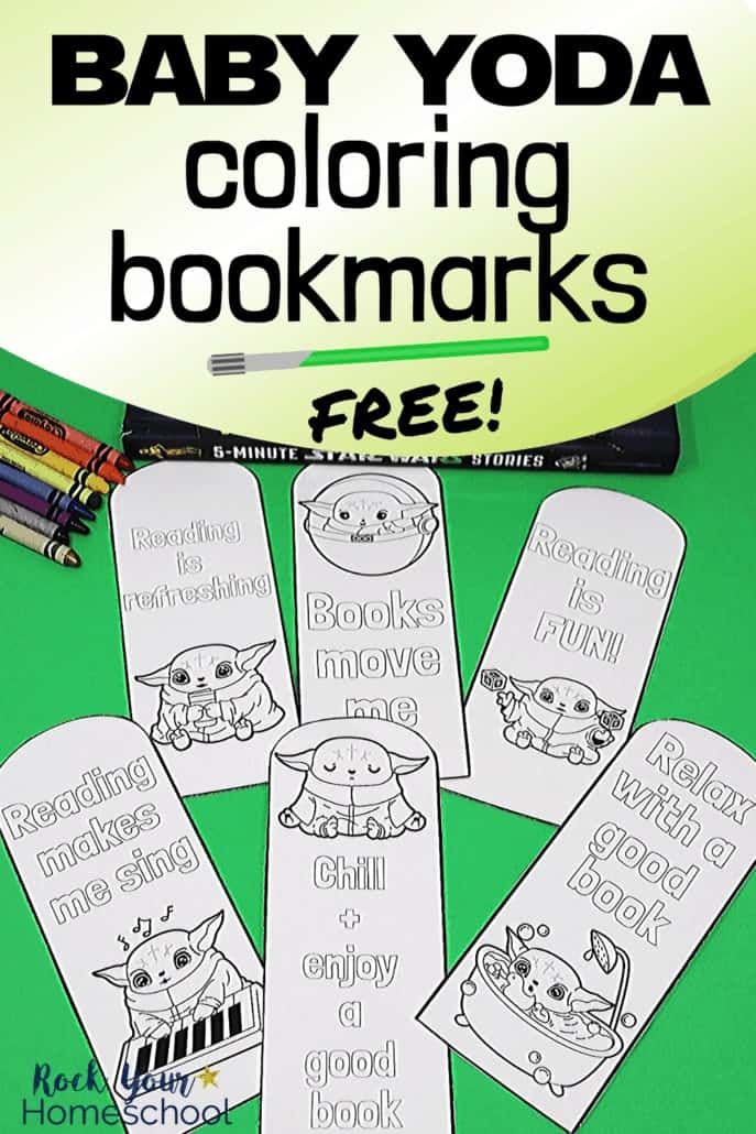 Baby Yoda coloring bookmarks with crayons & Star Wars books to feature the creative fun your kids will have with these printable bookmarks