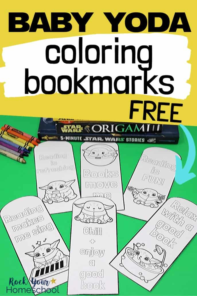6 Baby Yoda coloring bookmarks, crayons, & Star Wars books to feature the creative fun your kids will have with these printable activities to boost reading fun