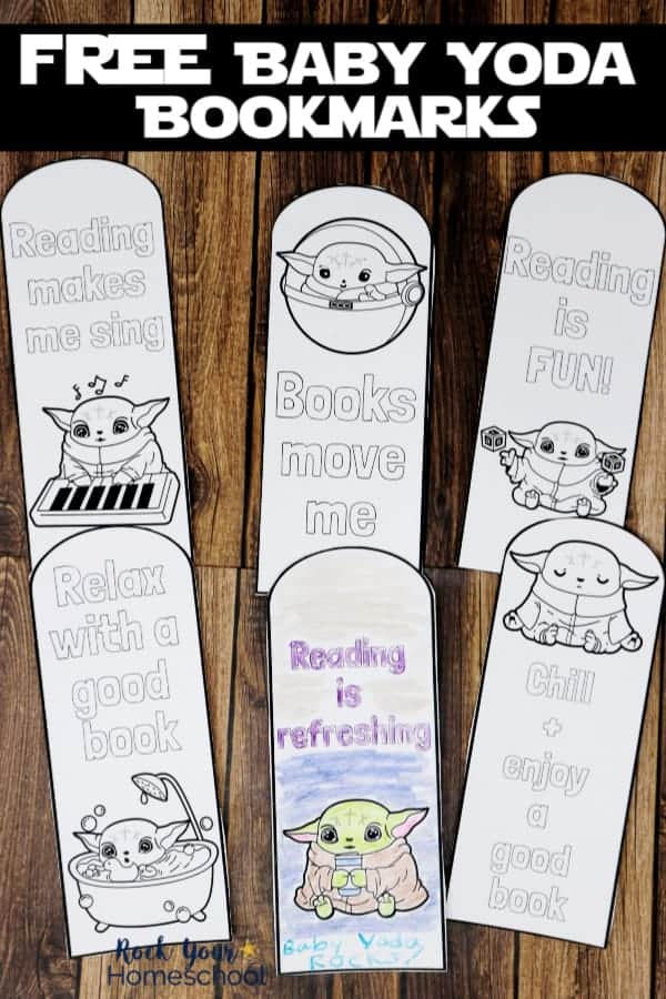 6 free Baby Yoda Coloring Bookmarks on wood background to feature the reading fun your kids can have with these printables