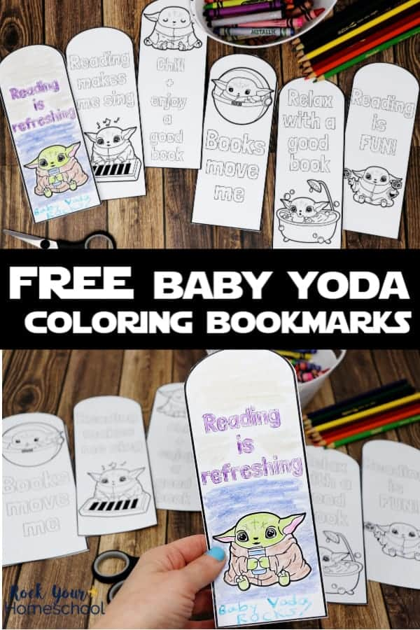 6 free Baby Yoda coloring bookmarks with color pencils & crayons on wood background & woman holding completed Baby Yoda coloring bookmark to feature the reading fun you can have with these printables