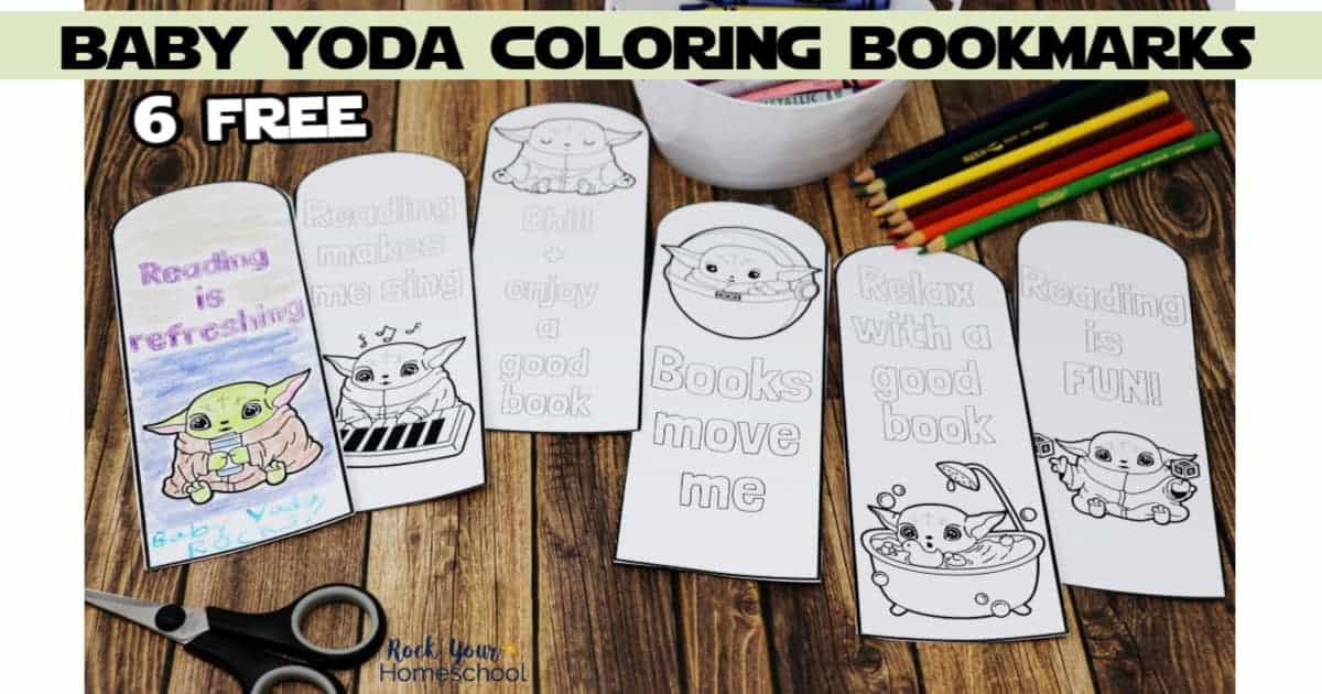 These 6 free Baby Yoda Coloring Bookmarks are awesome ways to make reading fun.