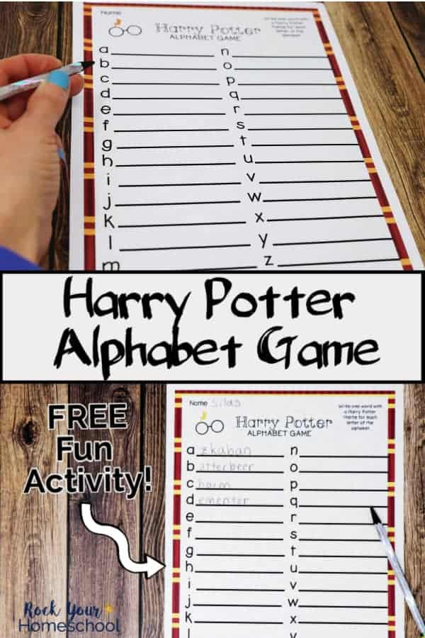 Free Harry Potter-Inspired Alphabet Game for Amazing Fun