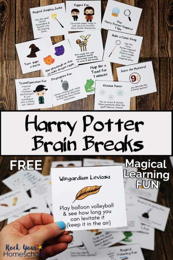Harry Potter-Inspired brain breaks in printable cards on wood background and woman holding brain break card with other cards in background to feature the wonderful learning fun your kids can have with these creative prompts