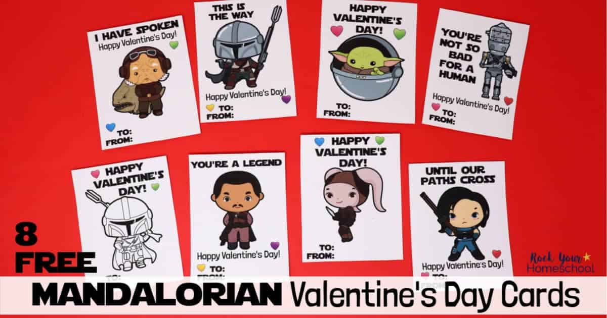 Your Star Wars fans will love these 8 free Mandalorian Valentine's Day cards.