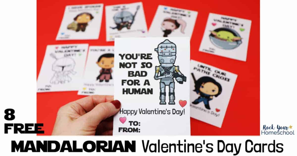 Make this Valentine's Day extra special with these printable cards featuring Mandalorian characters.