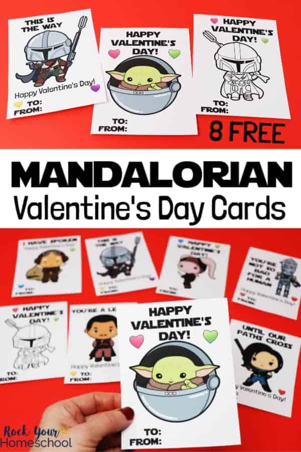 8 free Mandalorian Valentine's Day cards on red background with woman holding card. Cards feature characters including Mandalorian, Baby Yoda, Kuiil, Xi'an, IG-11, Greef Karga, & Cara Dune