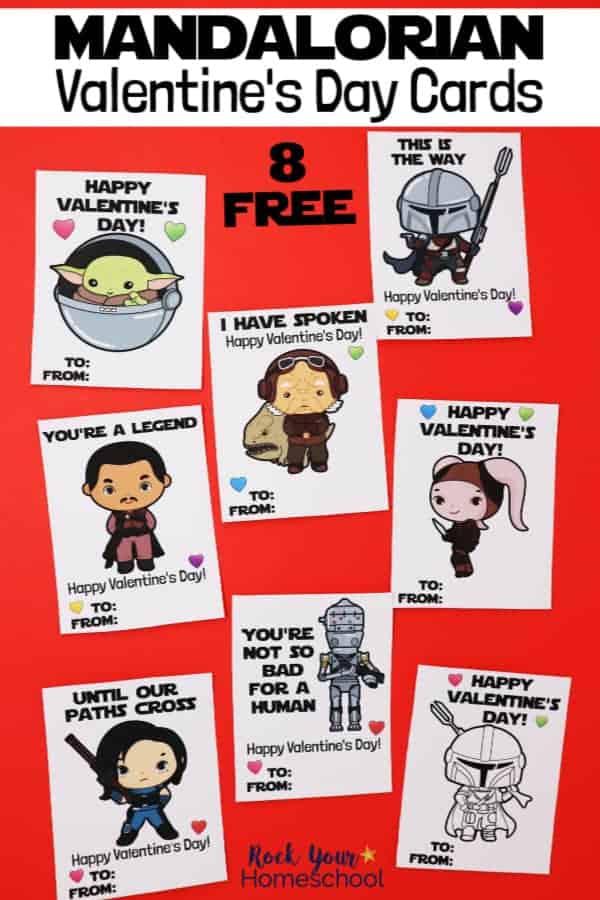 8 free Mandalorian Valentine's Day Cards featuring Baby Yoda, Mandalorian, Kuiil, Greef Karga, Xi'an, Cara Dune, & IG-11 on red background