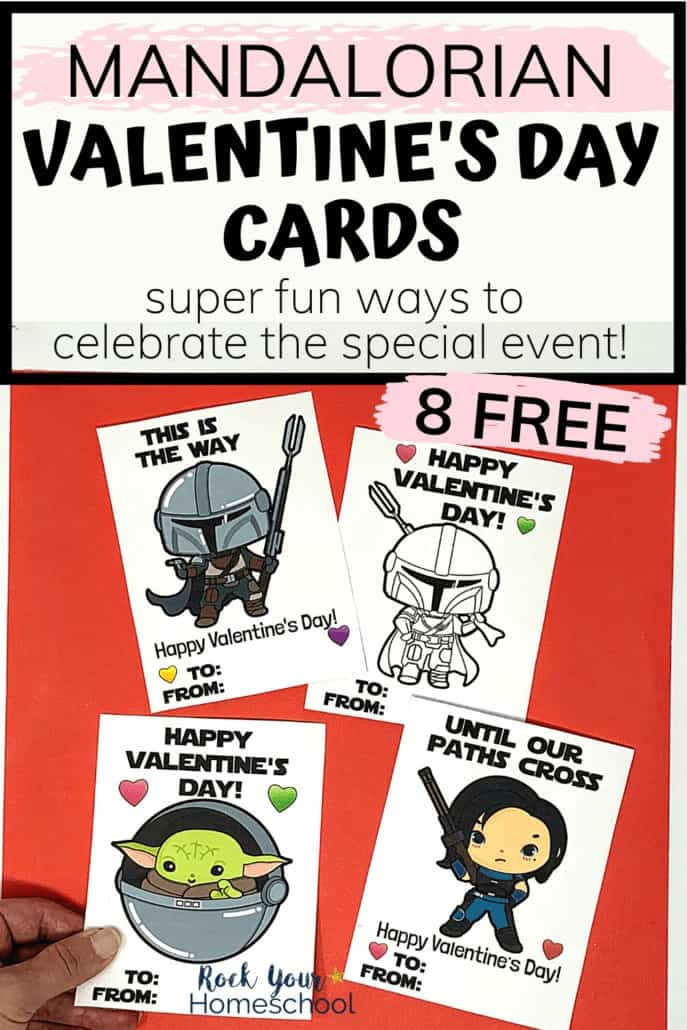 Woman holding Mandalorian Valentine's Day cards to feature how you'll love using these free printables for special holiday fun with your kids