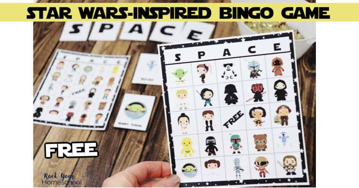 Your Star Wars fans will love this free printable Star Wars-inspired bingo game pack.