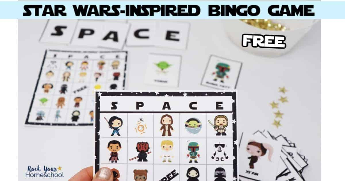 Have a blast with this free printable Star Wars-Inspired bingo game that's great for parties, class, homeschool, & family fun.