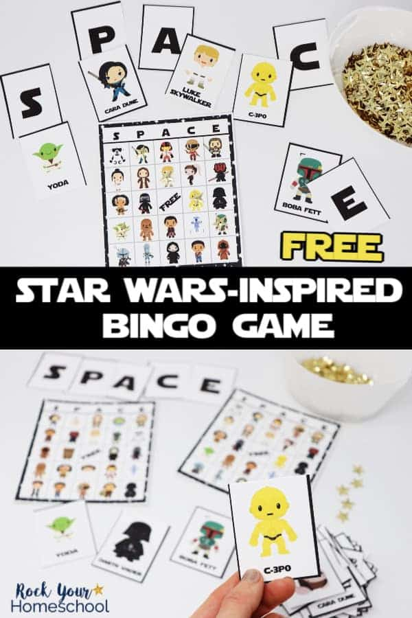 Star Wars-Inspired bingo game cards & calling cards with gold stars on white background with woman holding C-3P0 calling card to feature the fun you can have with this free printable game