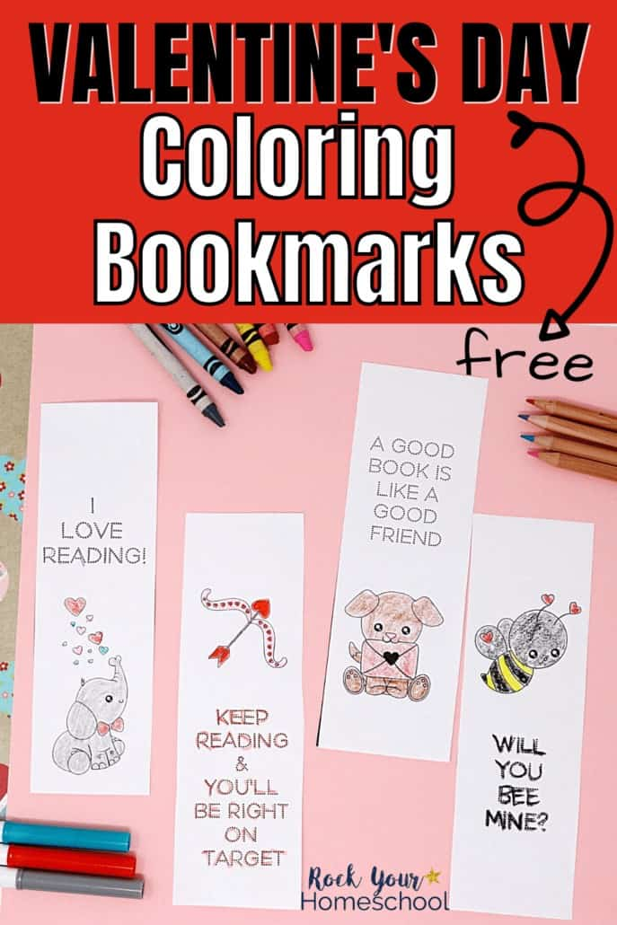 Valentine's day bookmarks with markers, crayons, & color pencils to feature how much holiday fun your kids will have with these free coloring bookmarks