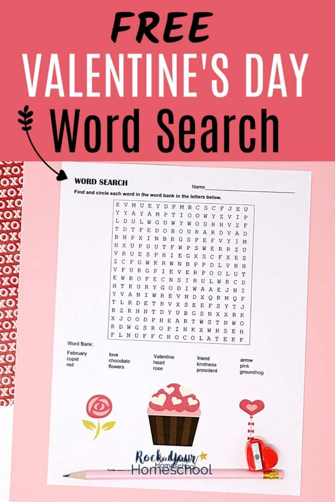 Valentine's Day word search with pink pencil & red heart-shaped pencil sharpener to feature the amazing holiday fun your kids will have with this free Valentine's Day printable activity