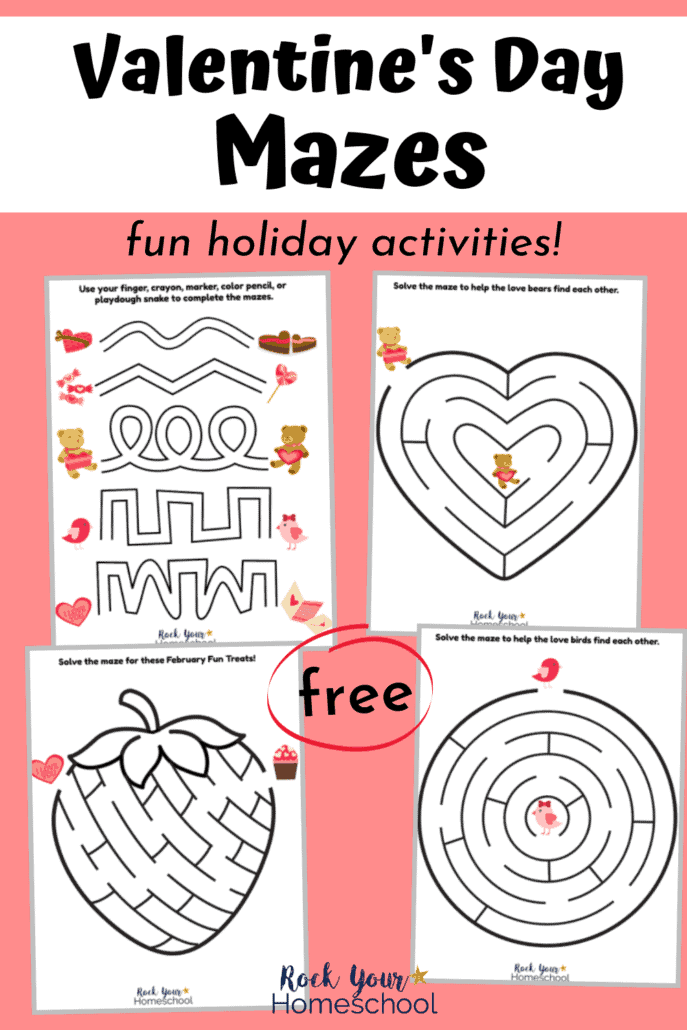 4 free Valentine's Day mazes for fun holiday activities for your kids to enjoy