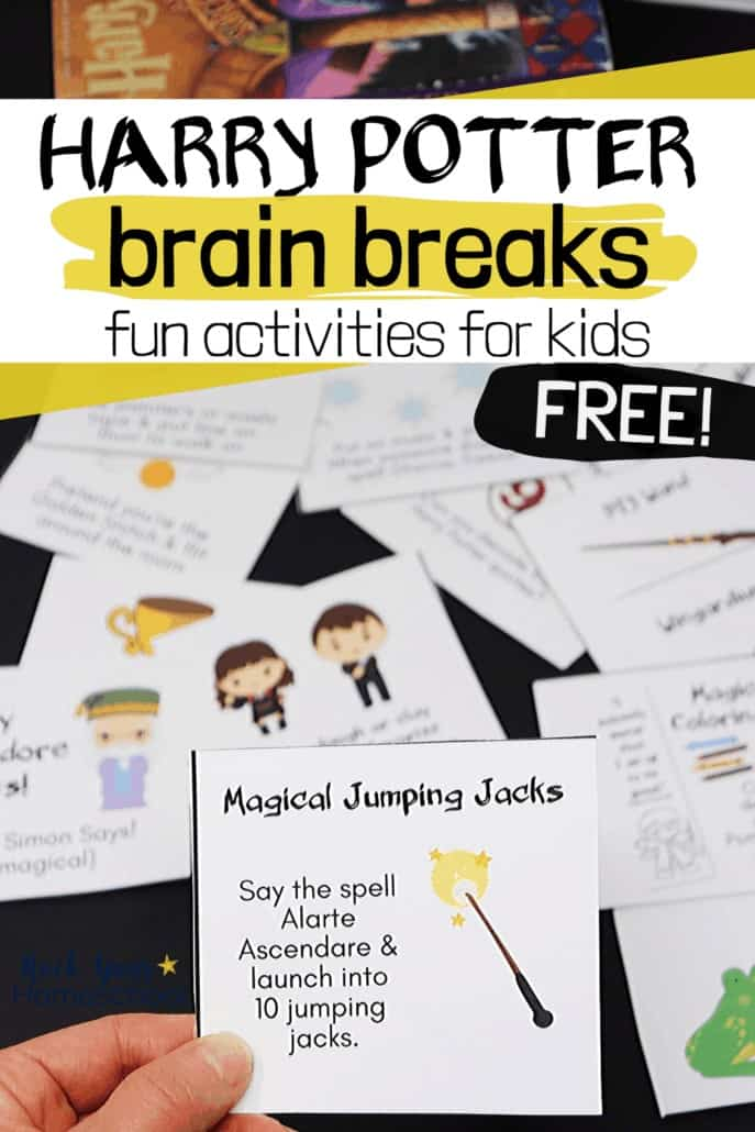 Woman holding Harry Potter brain break card with other cards & books in background to feature the magical fun your kids will have with these special activities for boredom busters, parties, & more