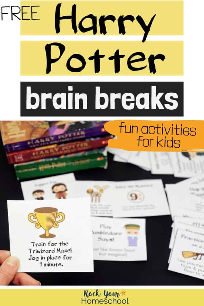 Woman holding Harry Potter brain break card with other cards & books in background to highlight the easy ways you can use these activities with your kids for magical learning fun at home, in your classroom, party, & more