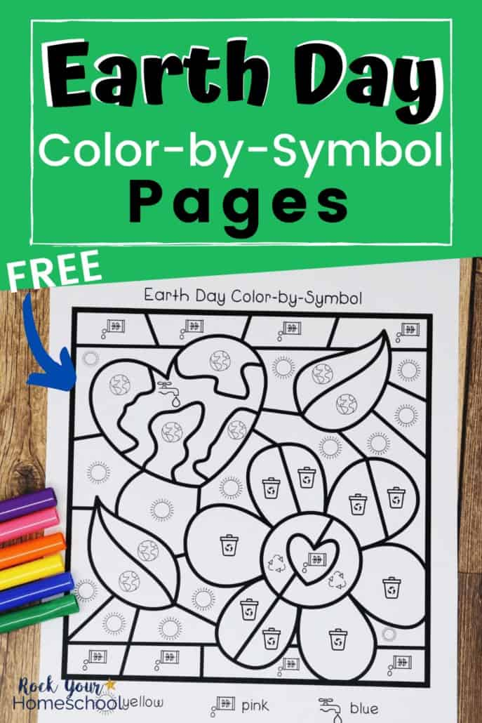Free Earth Day color-by-symbol page featuring heart, leaves, & flower and markers to feature the tremendous learning fun to be had with these activities with environmental & Earth Day concepts