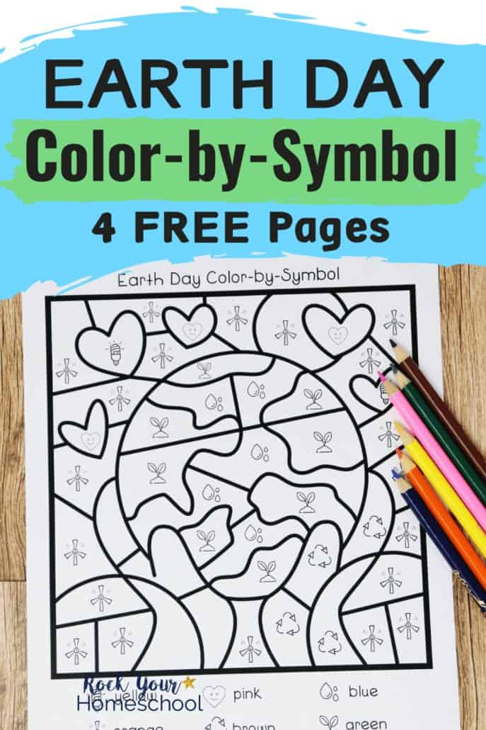 Earth Day color-by-symbol page with color pencil on wood background to feature the fun potential of using these activities to teach kids about environmental & Earth Day concepts