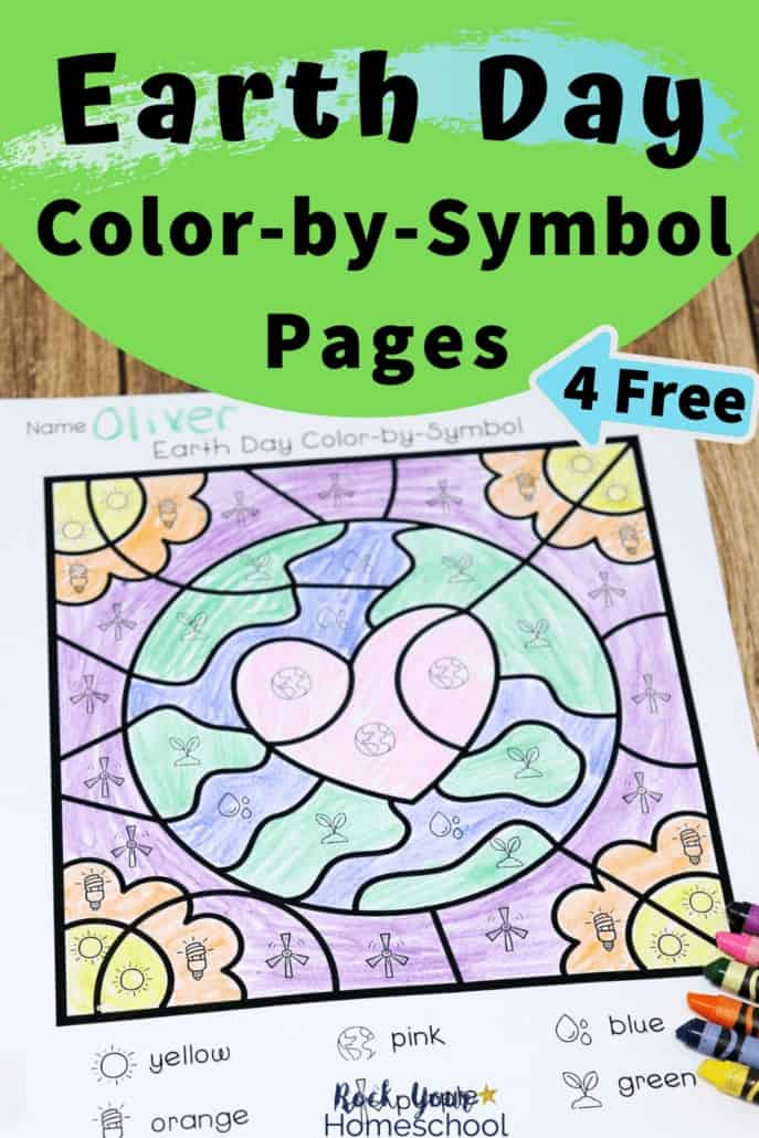 Earth Day color-by-symbol page with crayons for creative ways to celebrate Earth Day with kids