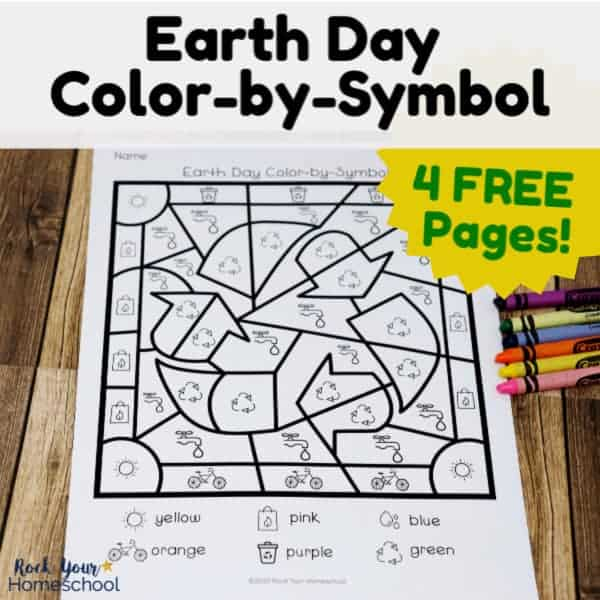Have awesome Earth Day fun with these free color-by-symbol pages.