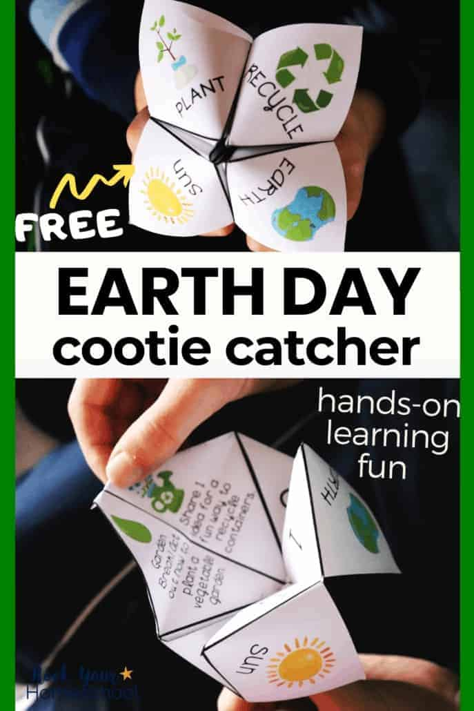 Boy holding an Earth Day Cootie Catcher & lifting a flap to reveal a fun prompt to feature the hands-on fun your kids will have with this free printable activity